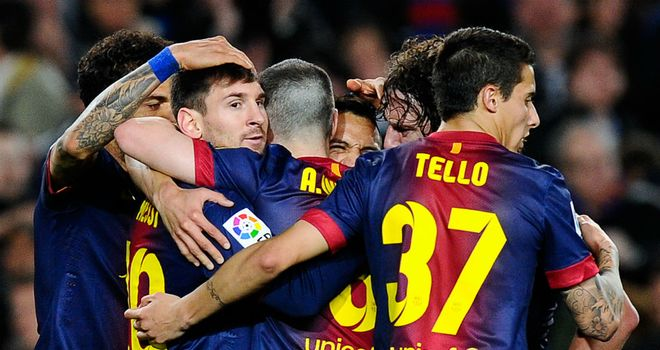 Lionel Messi: Celebrating after scoring in 17th consecutive league game