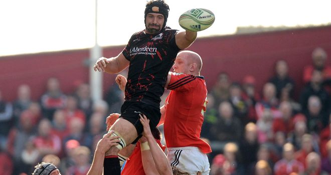Paul O'Connell (in red) in action in Europe against Edinburgh