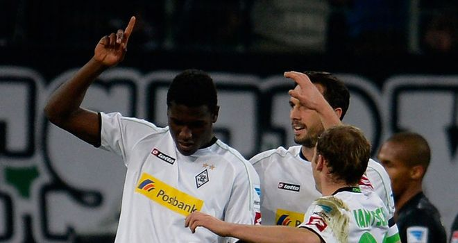 Peniel Mlapa celebrates his goal for Monchengladbach
