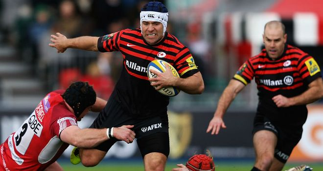 Schalk Brits makes some hard yards for Saracens