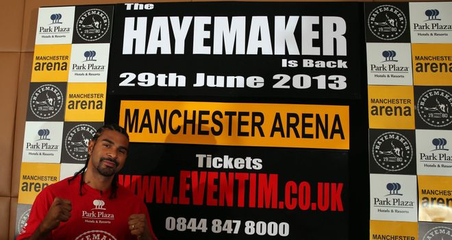 David Haye: Fighting in Manchester in June after almost a year out of the ring