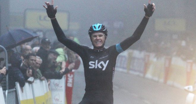 Chris Froome celebrates a memorable stage and race victory for Team Sky