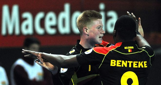 Kevin De Bruyne celebrates his opener against Macedonia
