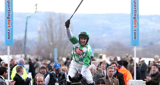 Wayne Hutchinson celebrates a 33/1 winner in the Coral Cup
