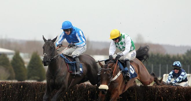 Silver Roque (left) jumps into the lead at the final fence