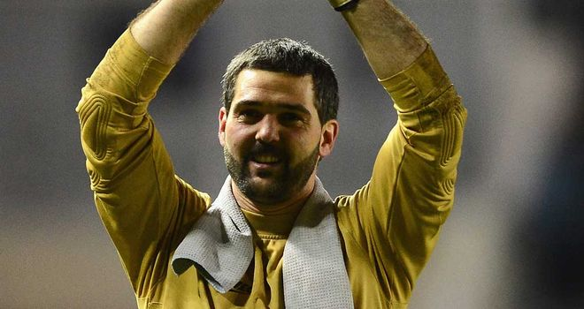 Julian Speroni: Crystal Palace goalkeeper celebrates after victory at Derby
