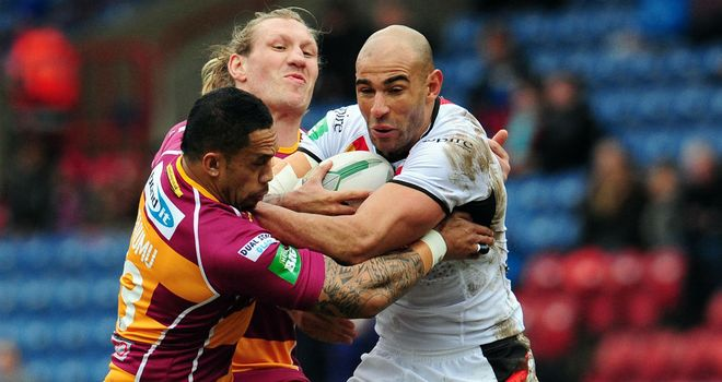 Chev Walker tries to get the Bradford Bulls on the front foot against the Huddersfield Giants