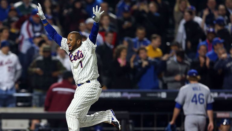 Jordany Valdespin celebrates his walk-off grand slam