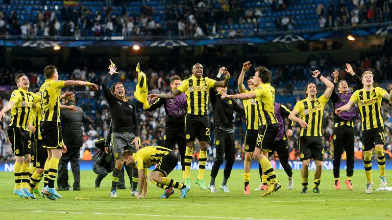 Borussia Dortmund: The players celebrate reaching the final