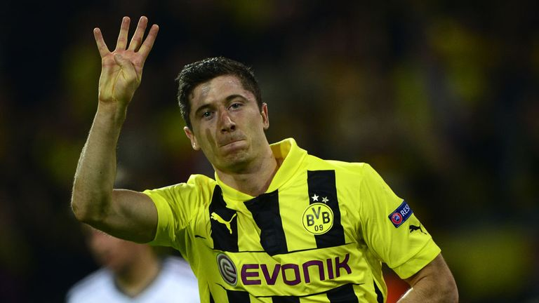Robert Lewandowski celebrates his four goals against Real Madrid