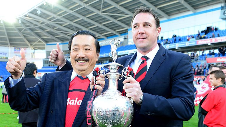 Vincent Tan: Celebrates the Championship title with Malky Mackay