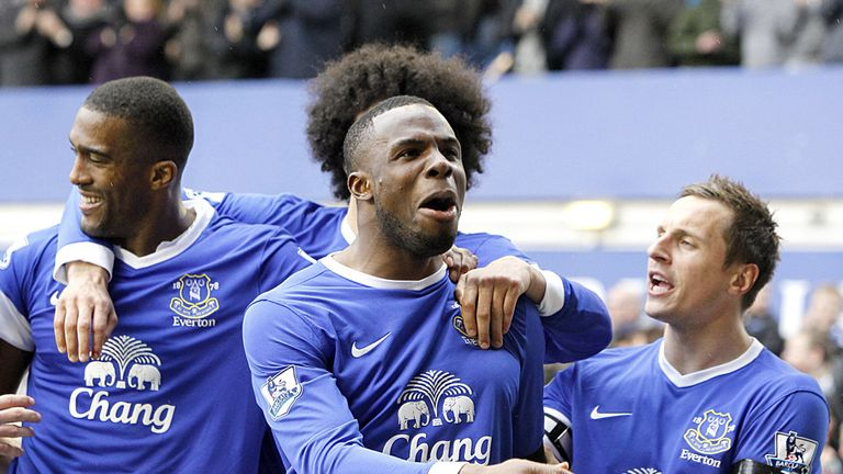 Victor Anichebe (centre): Scored his eighth goal of the season on Saturday