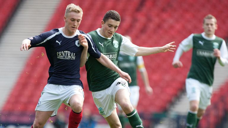 Falkirk: In action against Hibernian in the Scottish Cup semi-final
