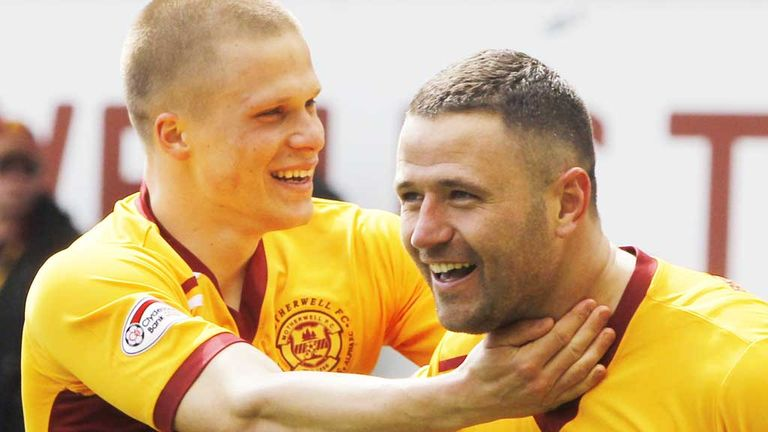 Henrik Ojamaa and Michael Higdon: Celebrate a goal in win over Celtic