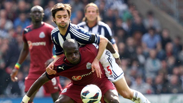 Claudio Yacob: West Brom defender tangles with Moussa Sissoko