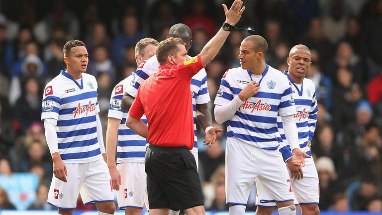 Bobby Zamora is given his marching orders by referee Phil Dowd