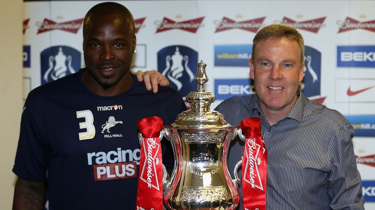 Danny Shittu and Kenny Jackett: With FA Cup trophy