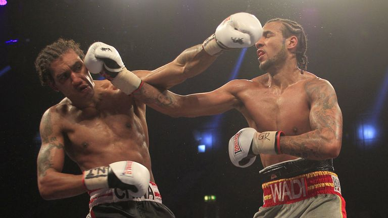 China Clarke (L) gets the better of Wadi Camacho in a breakthrough fight at Wembley (Pic Lawrence Lustig)