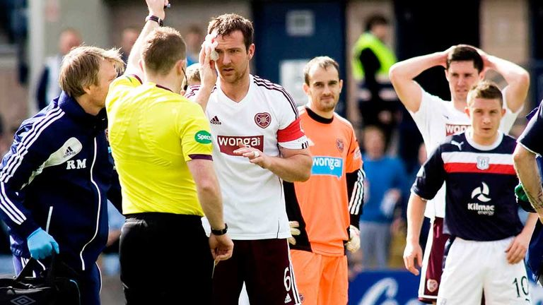 Hearts skipper Andy Webster is dismissed against Dundee