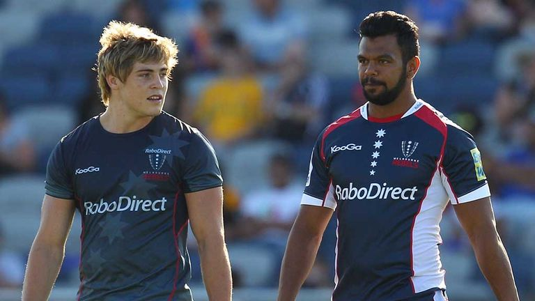 James O'Connor and Kurtley Beale prepare for action with the Melbourne Rebels