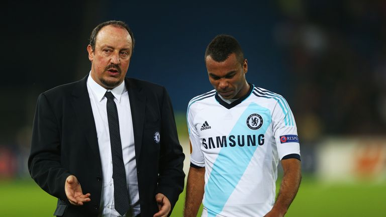 Rafa Benitez and Ashley Cole, who will miss the second leg against Basel due to suspension