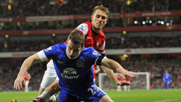 Seamus Coleman tangles with Aaron Ramsey as Arsenal draw 0-0 with Everton