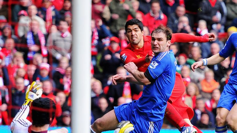Luis Suarez: Footage appears to show the Liverpool striker bit Branislav Ivanovic
