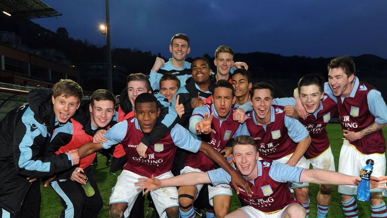Aston Villa's players celebrate