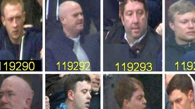 Eight of the 10 football supporters police want to identify