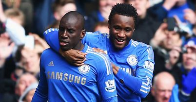 Demba Ba: Celebrates with Mikel