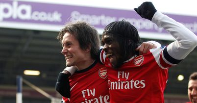Tomas Rosicky and Gervinho: Celebrate at West Brom