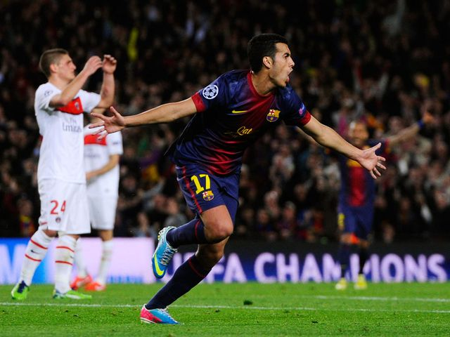 Pedro celebrates his equaliser for Barcelona