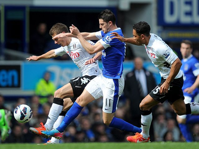 Kevin Mirallas battles for the ball with Fulham's Alex Kacaniklic