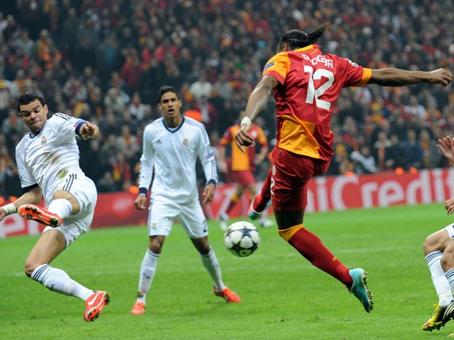 Didier Drogba scores his goal for Galatasaray