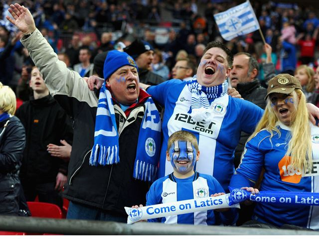Celebration time for the Wigan fans