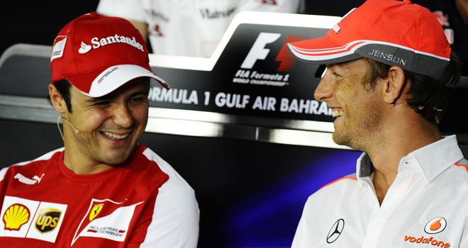 Felipe Massa and Jenson Button in the Thursday press conference