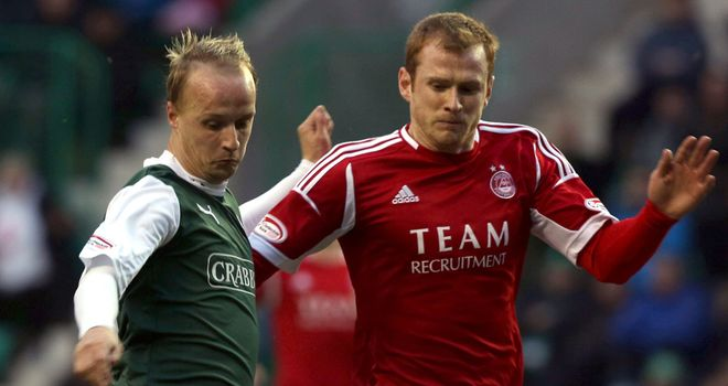 Leigh Griffiths (left) carried Hibs most potent attacking threat against Aberdeen