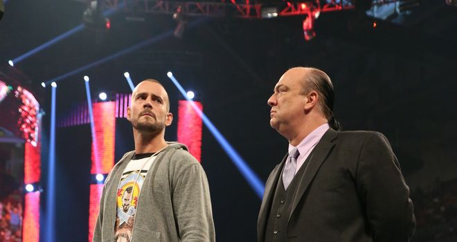 Punk (L) got the better of Heyman on Raw