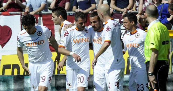 Pablo Daniel Osvaldo celebrates his goal for Roma