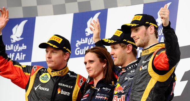 Kimi Raikkonen and Romain Grosjean share the Bahrain Grand Prix podium with Sebastian Vettel