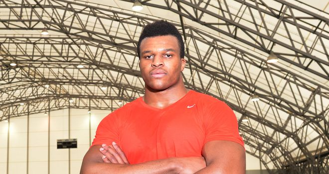 Lawrence Okoye: First impression excites Harbaugh