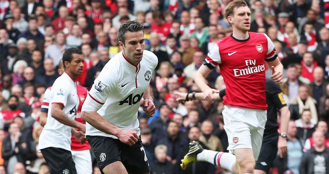 Robin van Persie: Scored from the penalty spot in the first half against former club Arsenal