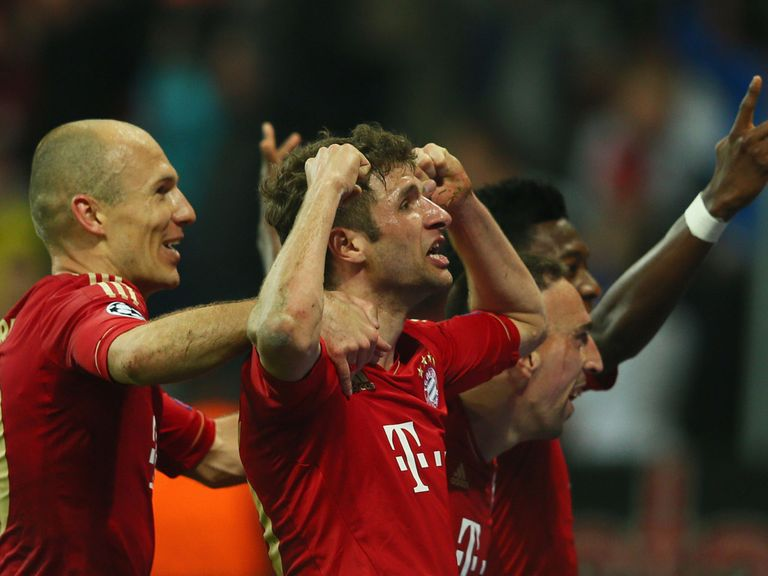 Thomas Muller celebrates one of his two goals