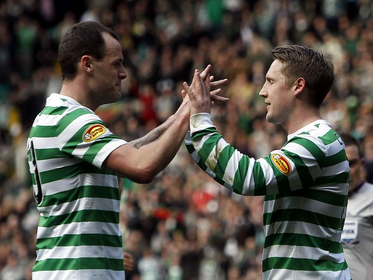 Celtic's Kris Commons celebrates with Anthony Stokes