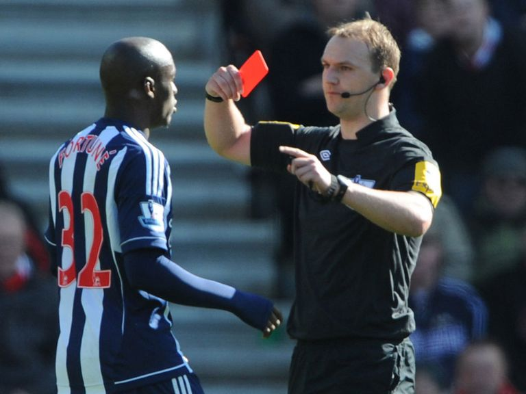 Marc-Antoine Fortune is sent off at Southampton.