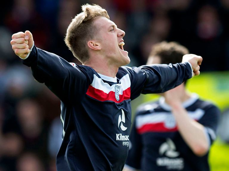 Jim McAlister celebrates Dundee's opening goal