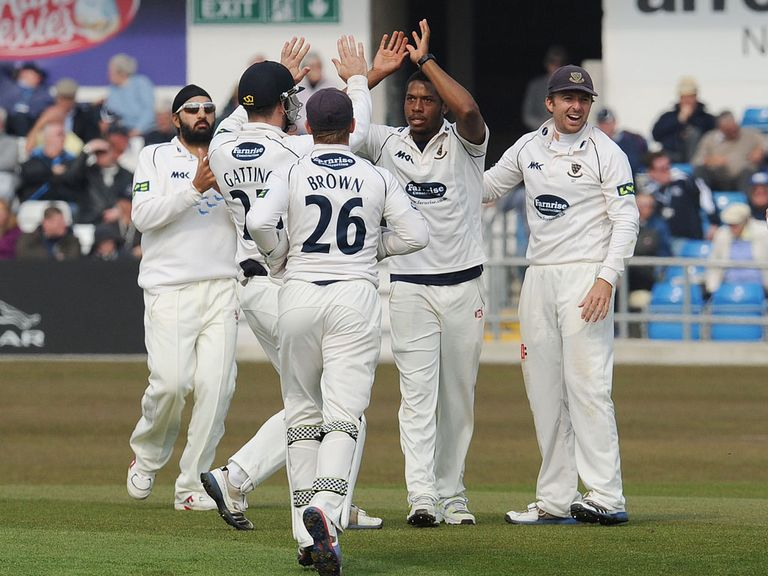 Chris Jordan celebrates taking a wicket for Sussex