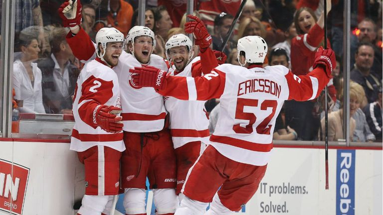 Detroit Red Wings celebrate beating the Anaheim Ducks