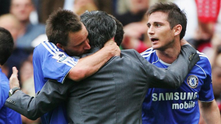 John Terry gets a hug from Jose Mourinho