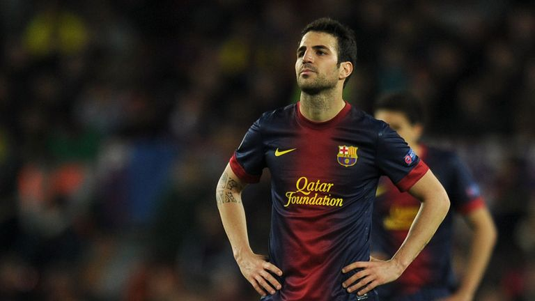 Cesc Fabregas looks dejected as Barcelona prove to have no answer to Bayern Munich's power